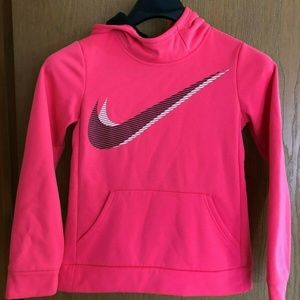 NIKE WOMENS LARGE PINK HOODED PULLOVER SWEAT,